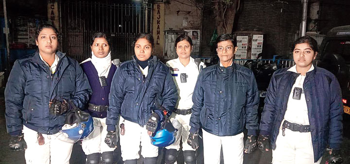"""Members of """"The Winners"""", the all-woman team of Calcutta police"""