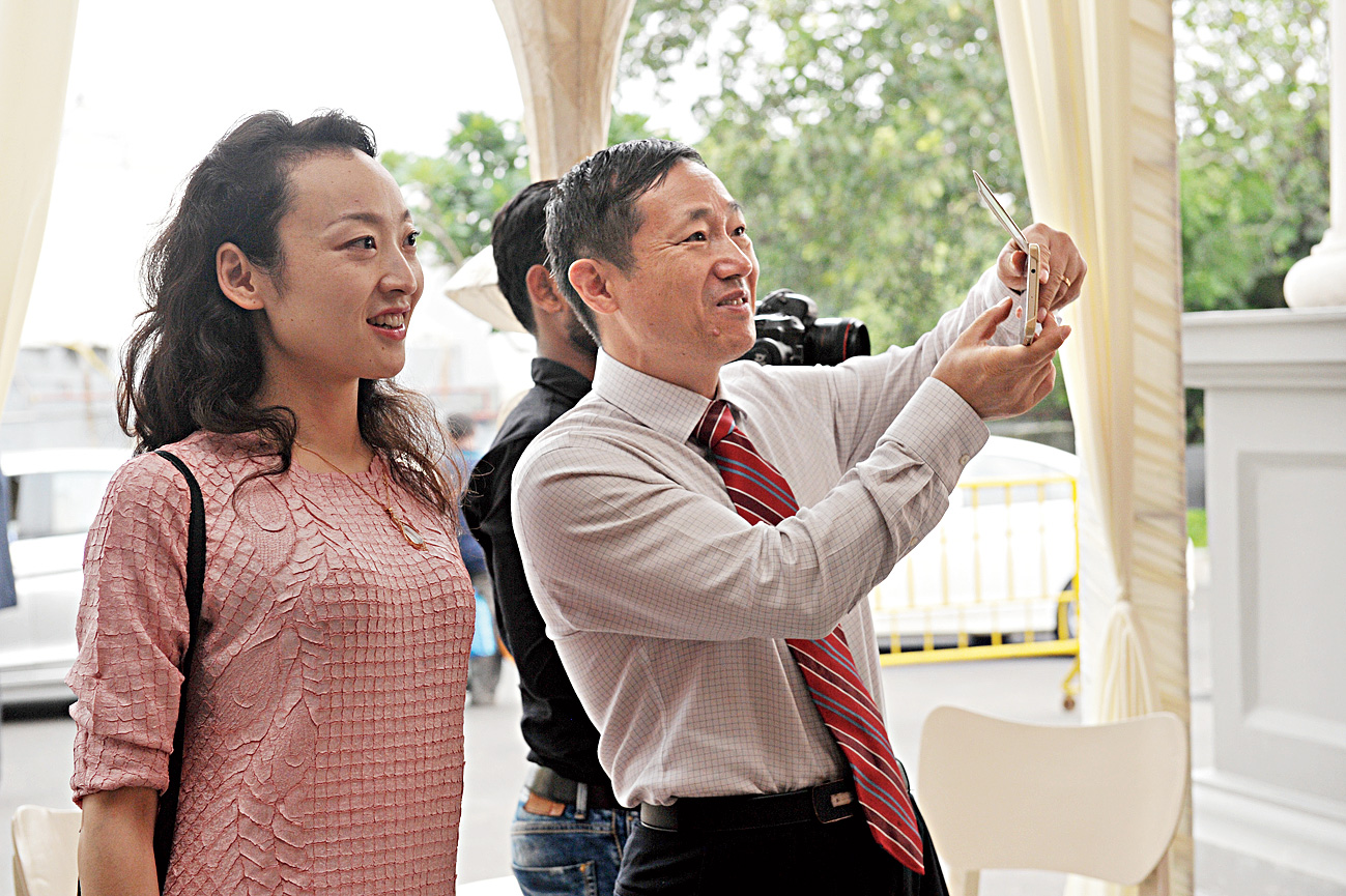 """""""We appreciate Indian culture and the wedding trousseau for the bride and the groom is very interesting to us. It is interesting to look around and it's beautiful,"""" said Ma Zhanwu, the consul-general of China, who dropped by with his wife."""