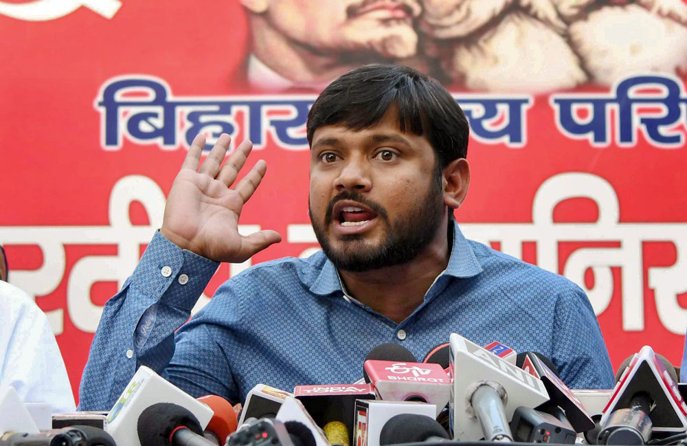 CPI candidate and former JNU students' union president Kanhaiya Kumar addresses a press conference ahead of Lok Sabha Election 2019, in Patna, Sunday, March 24, 2019.