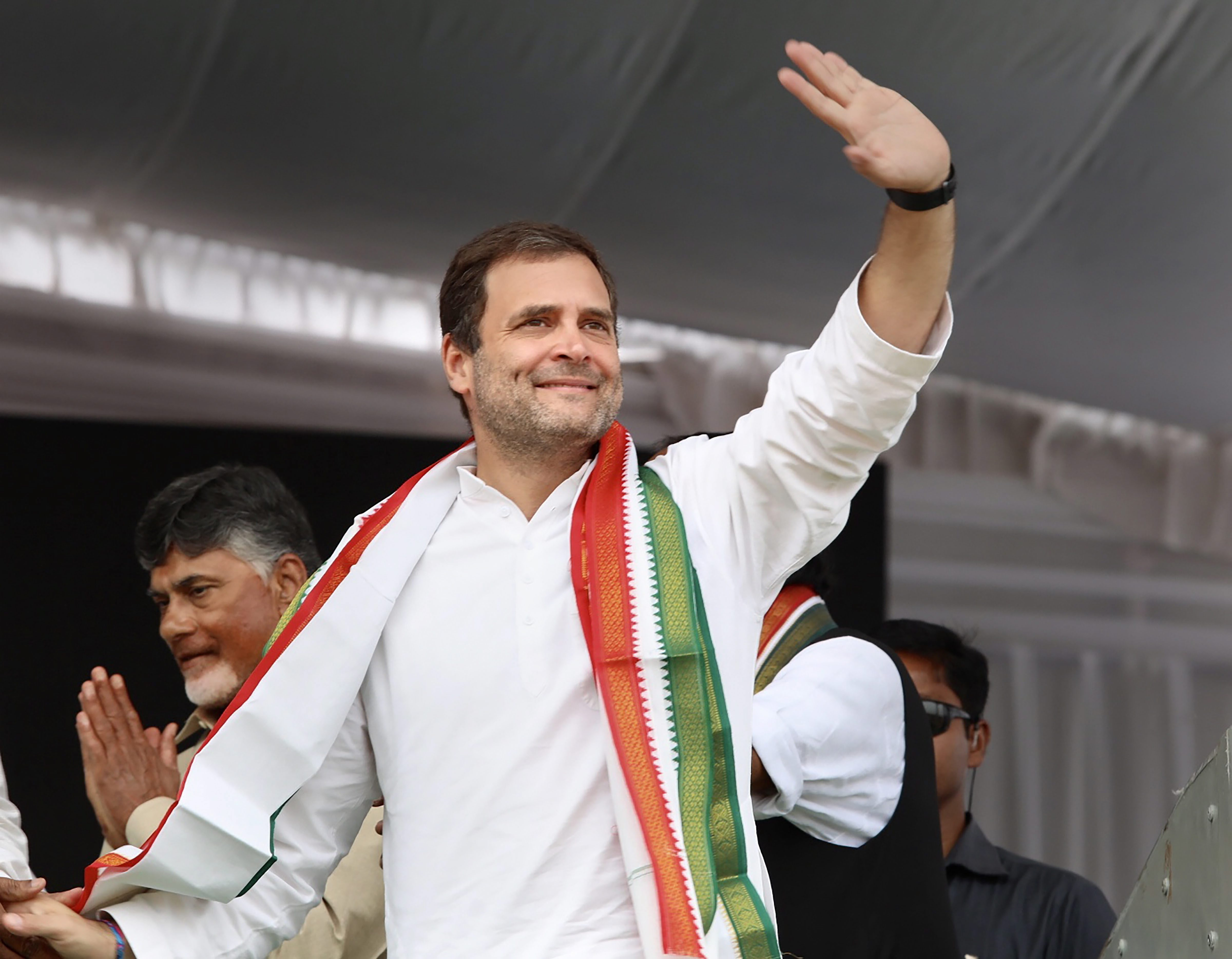 Rahul Gandhi at a public meeting in poll-bound Telangana on Wednesday.