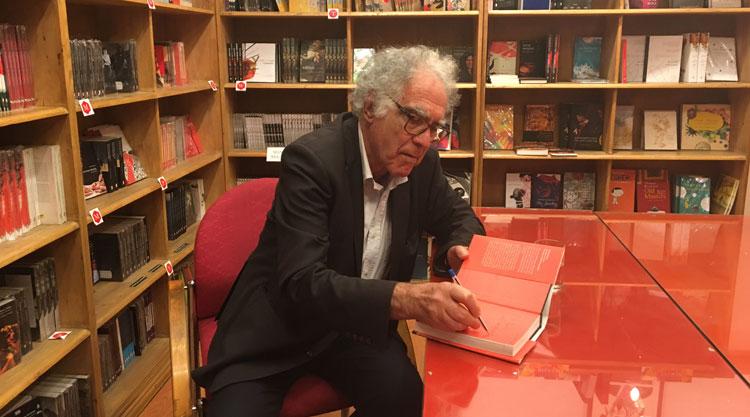 Historian and writer Carlo Ginzburg at the Seagull Bookshop in Calcutta