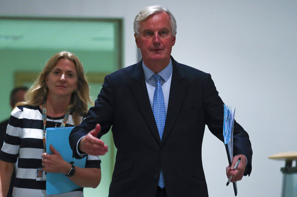 European Union chief Brexit negotiator Michel Barnier arrives to a Brexit Steering Group meeting at the European Parliament in Brussels, Wednesday, October 16, 2019