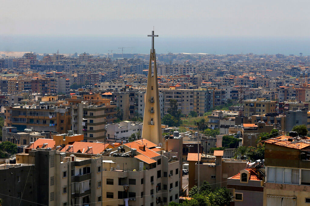 This June 24, 2019, photo shows a church in the village of Hadat, where only Christians can rent or buy property, near Beirut, Lebanon. The town's Muslim ban, imposed years ago, has recently sparked a national outcry.
