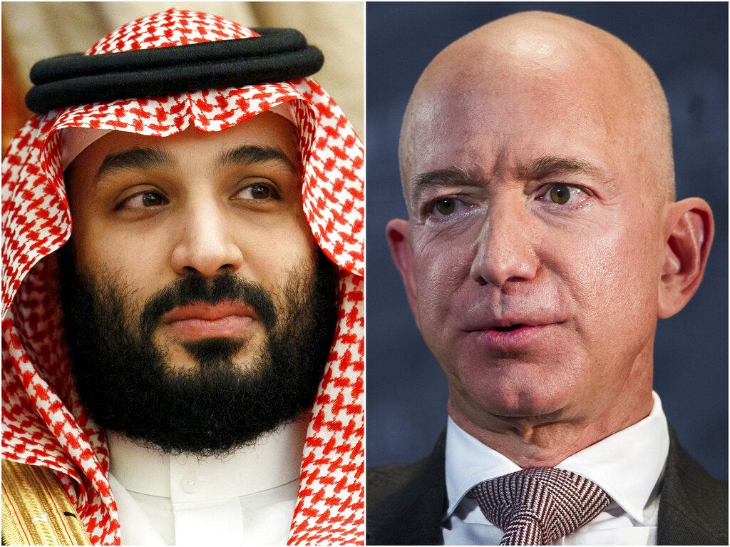 (Left to right) Saudi Arabia's Crown Prince Mohammed bin Salman in Jeddah, Saudi Arabia, on June 24, 2019 and Jeff Bezos, Amazon founder and CEO, in Washington, on Sept. 13, 2018.