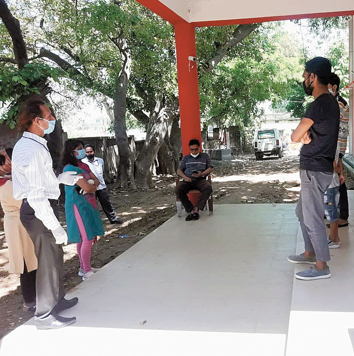A counselling session underway at a quarantine centre in Dumka on Wednesday.