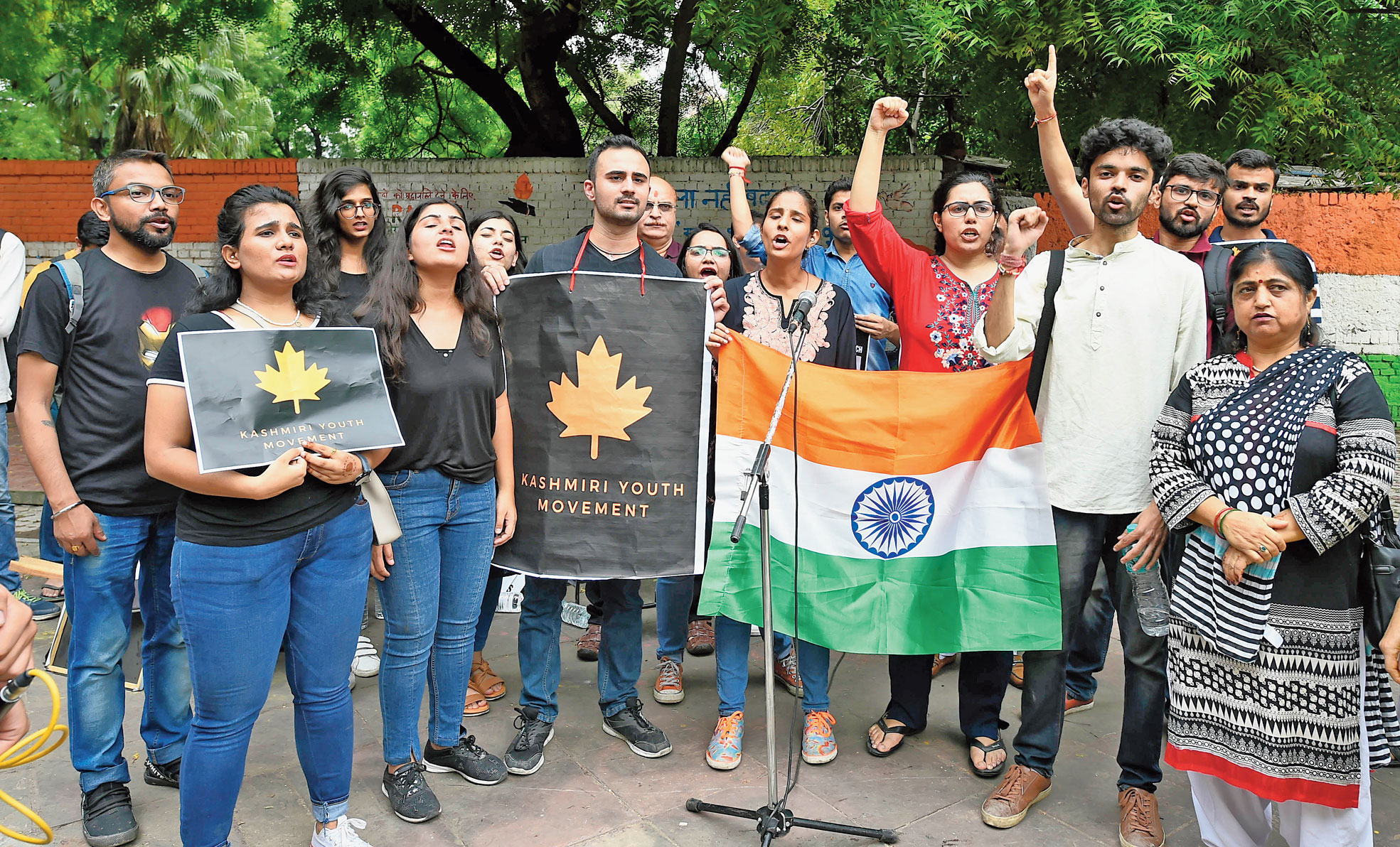 """Activists of Kashmiri Youth Movement express solidarity with the government for its decisions on Kashmir. (Prem Singh) An earlier version of the caption was incomplete. It had said """"activists of the Kashmiri Youth Movement express solidarity with Kashmir at an event in New Delhi on Sunday"""". It gave"""