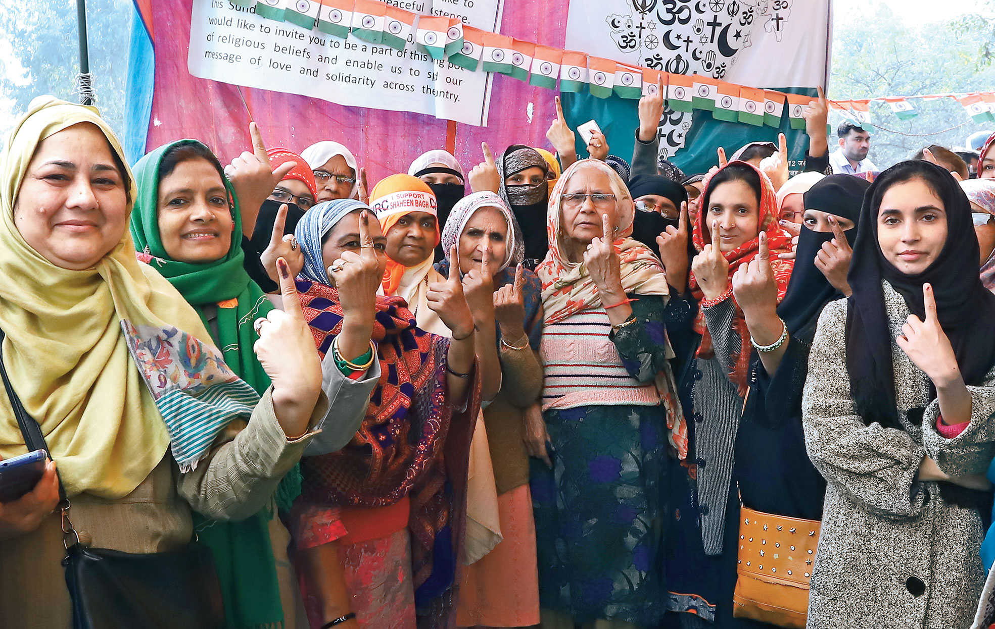 Shaheen Bagh protesters, including some who have come to be known as the Dadis of Shaheen Bagh, after voting in the Delhi Assembly election on Saturday.