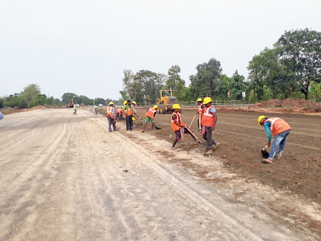 Work underway at the NH-33 stretch near Rampur, Ranchi, on Wednesday