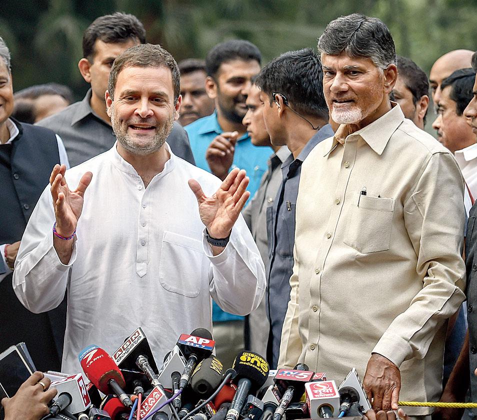 Rahul Gandhi with Chandrababu Naidu in Delhi.