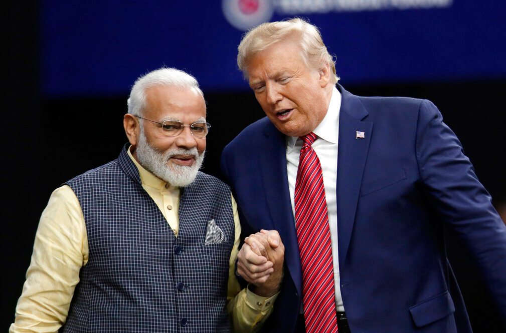 Prime Minister Narendra Modi with US President Donald Trump during the 'Howdy Modi: Shared Dreams, Bright Futures' event at NRG Stadium in Houston on September 22, 2019.