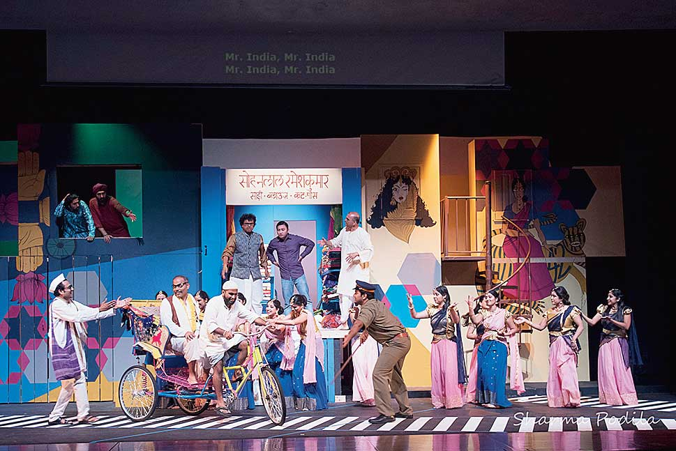 A scene from Mister India, a musical written and directed by Saraf, for NAATAK. This was a stage adaptation (in Hindi) of his novel The Peacock Throne.