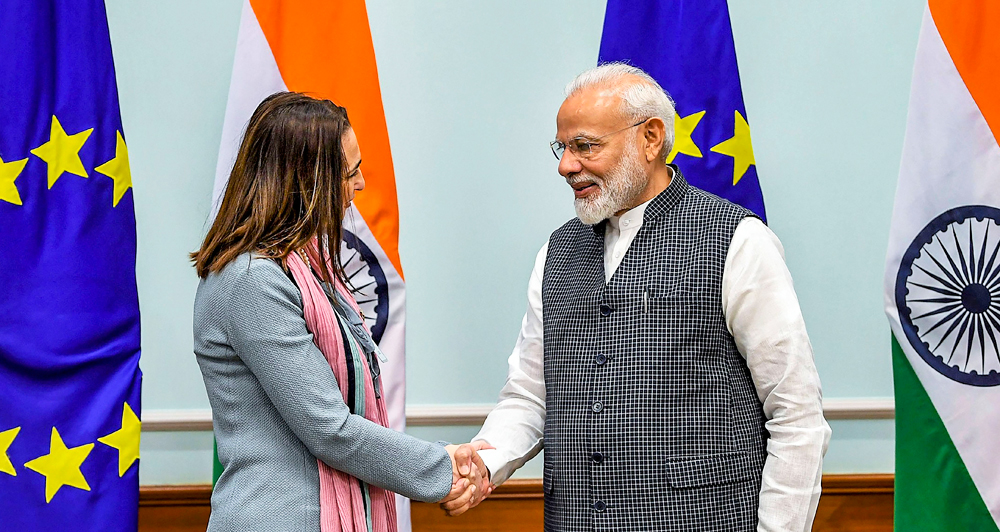 Prime Minister Narendra Modi shakes hands with members of European Parliament in New Delhi on Monday, October 28, 2019.