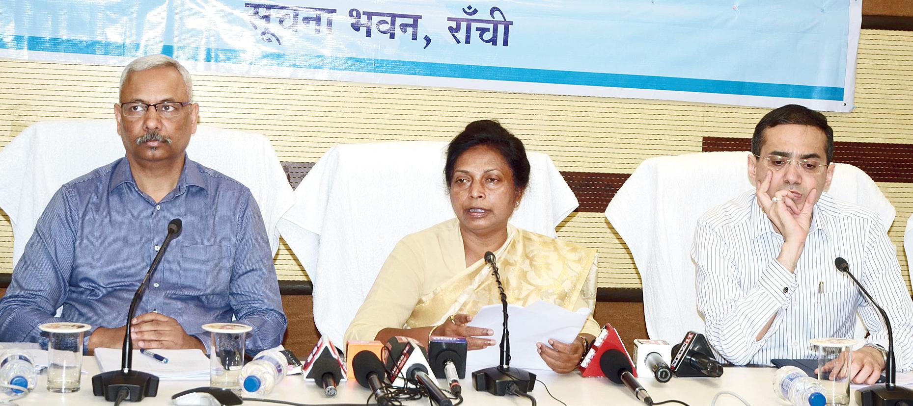 Welfare minister Louise Marandi addresses the media in Ranchi on Monday.
