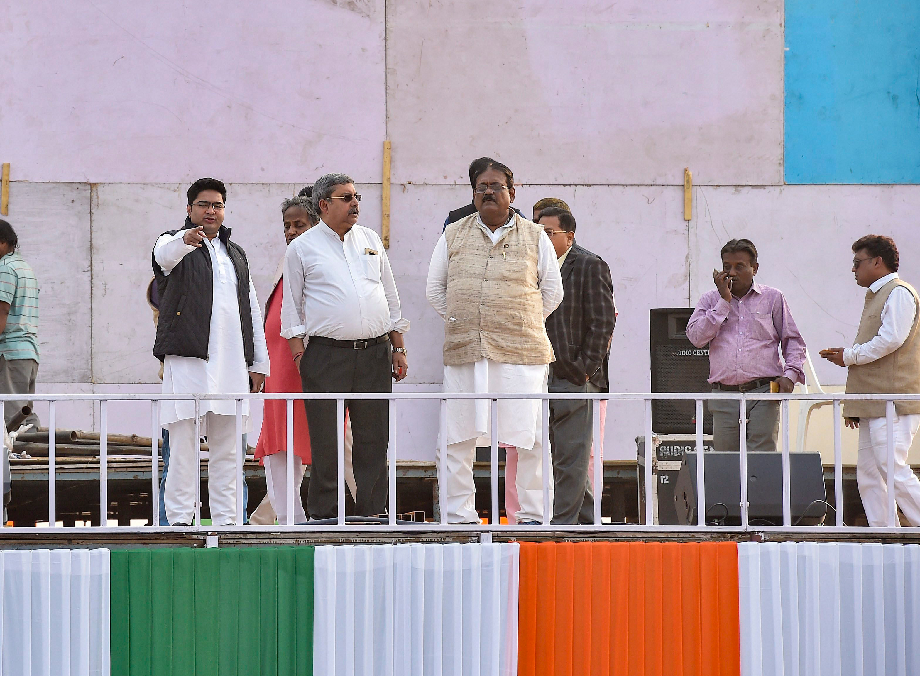 West Bengal Chief Minister Mamata Banerjee's nephew and party MP Abhishek Banerjee (extreme left) inspects the preparation work ahead of TMC's Mega rally, at Brigade Parade Ground in Calcutta on Friday, Jan 18, 2019.