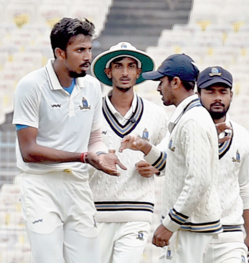 Bengal pacer Ishan Porel (left) celebrates with teammates at the Eden on Saturday