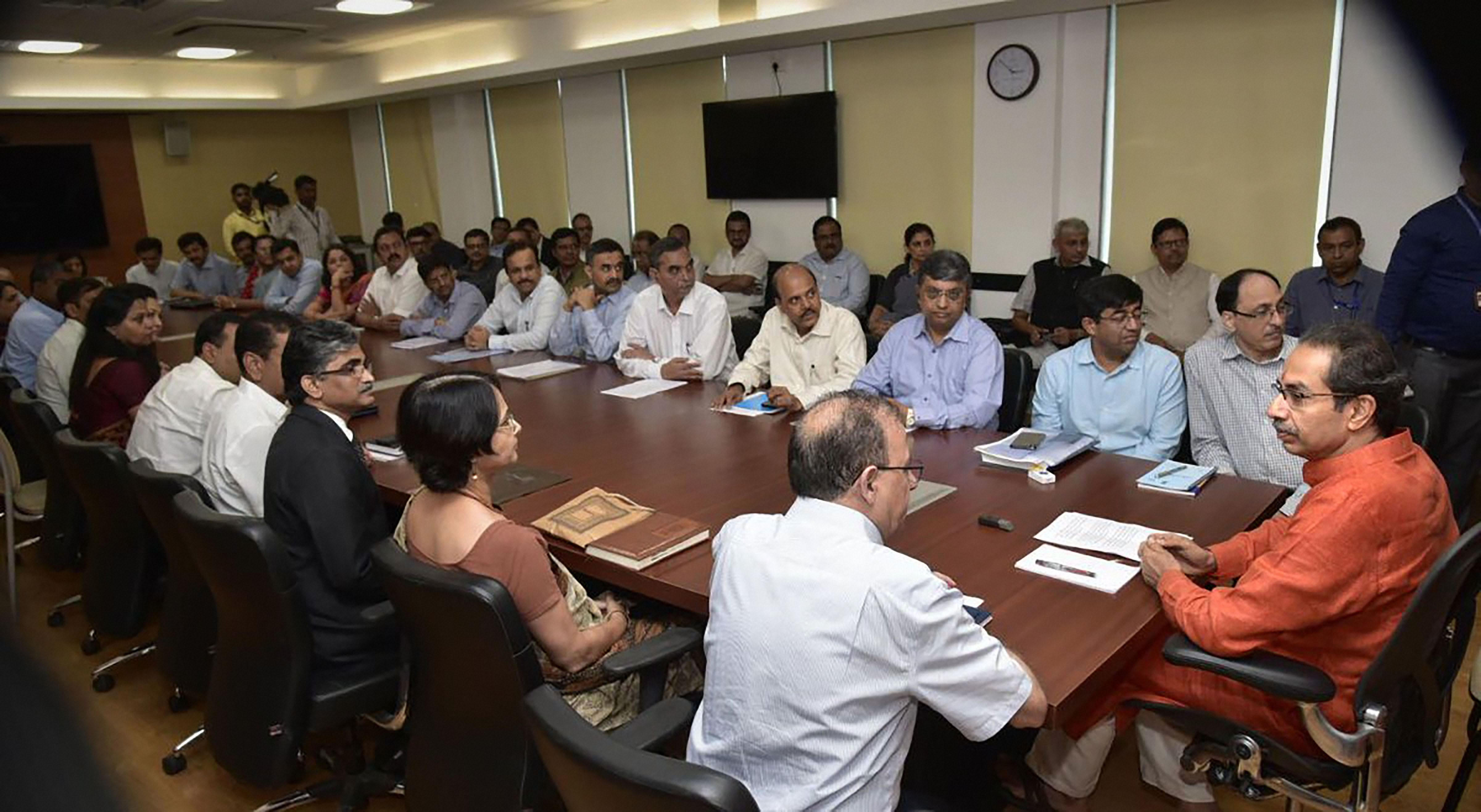 Maharashtra chief minister Uddhav Thackeray in a meeting with senior officers at Mantralaya after formally taking charge of his office, in Mumbai, Friday, November 29, 2019.