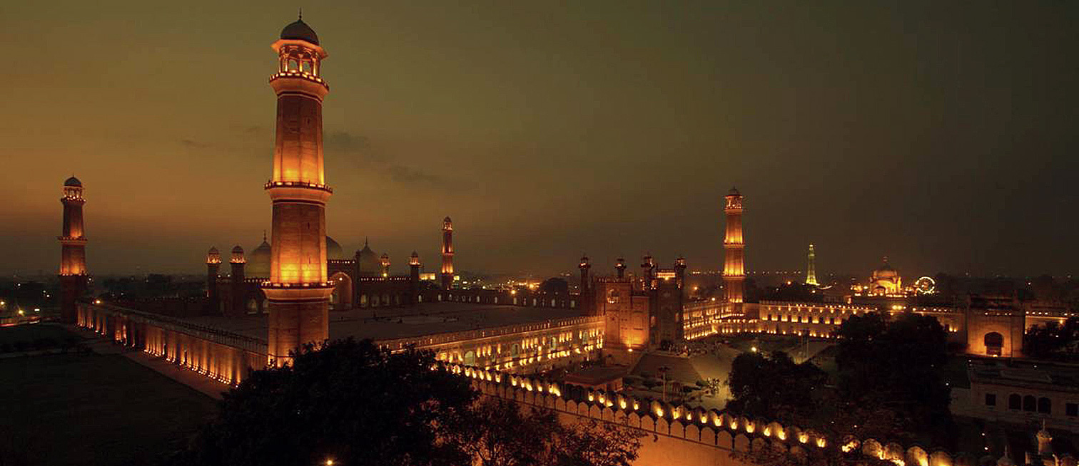 A view of Lahore at night taken from near the Badshahi Mosque