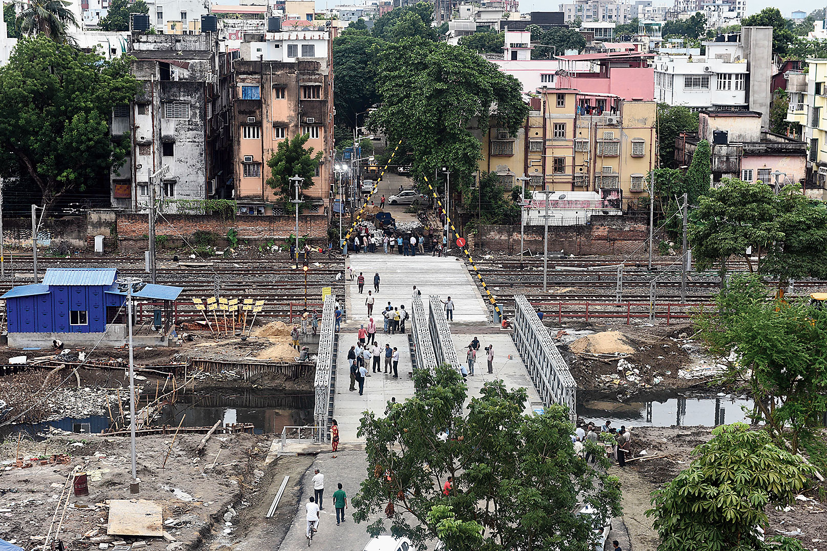 A new road being built near the collapsed Majerhat Bridge.