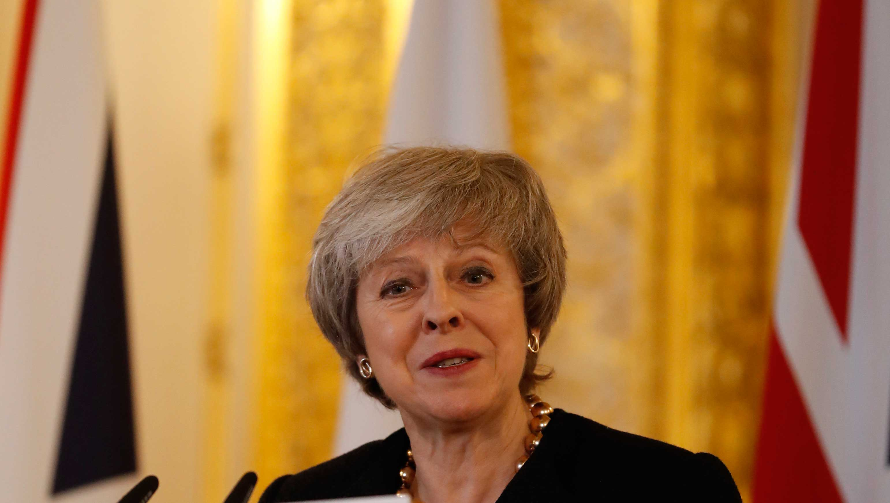 Theresa May speaks to the media during a press conference with the Polish Prime Minister Mateusz Morawiecki following a UK/Poland IGC meeting in London, on Thursday, December 20, 2018.