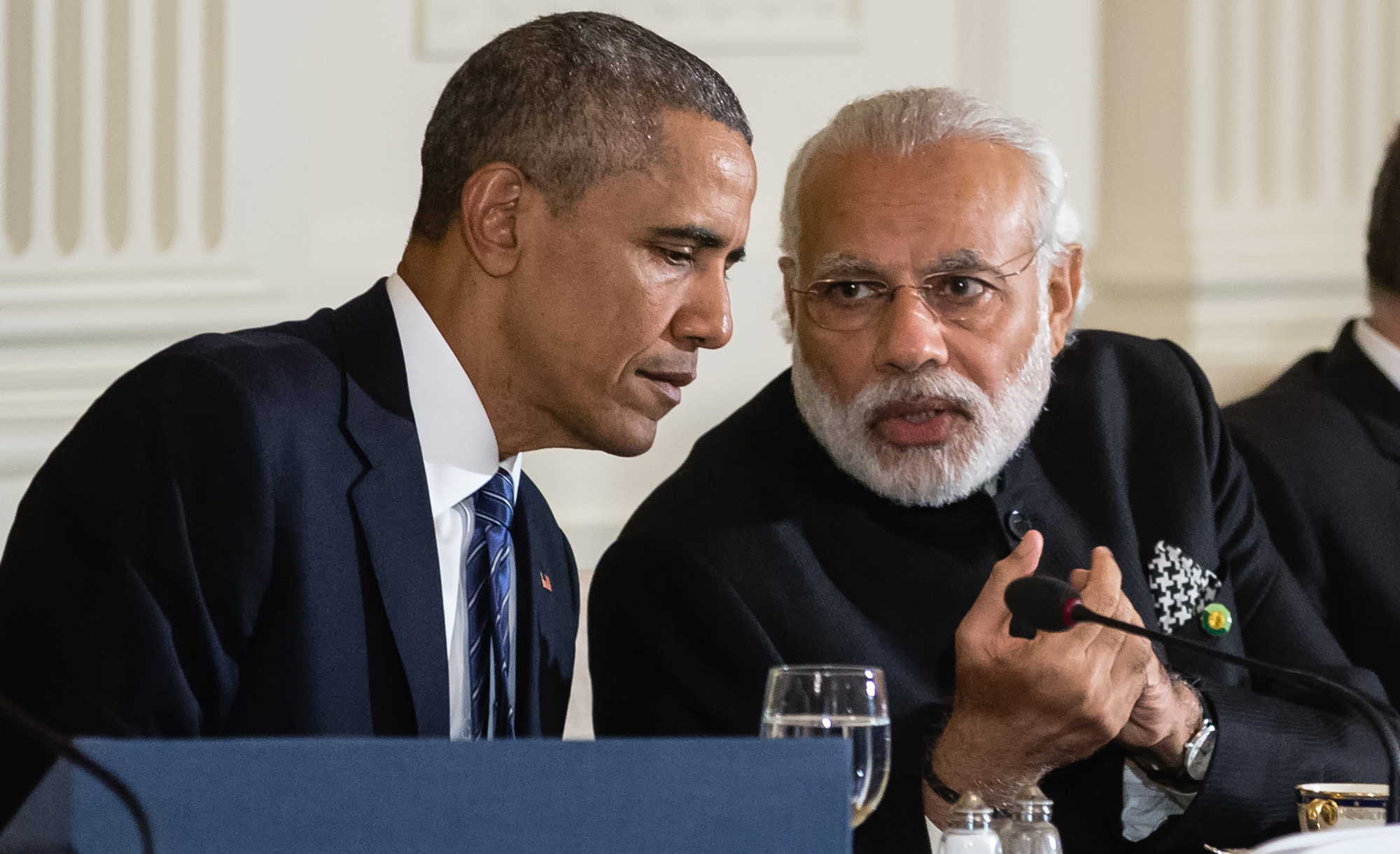 United States President Barack Obama talks with Prime Minister of India Narendra Modi. Obama and Clinton labelled South Asia a dangerous place