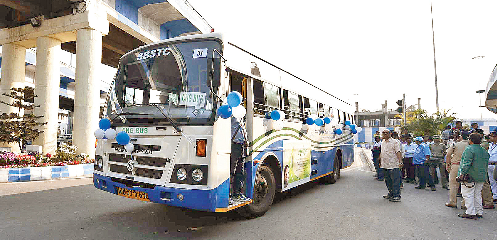 A CNG bus that was flagged off by chief minister Mamata Banerjee on Wednesday.