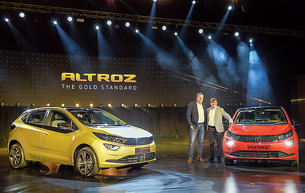 Tata Motors chairman Guenter Butschek and president Mayank Pareek with the Altroz in Mumbai on Wednesday