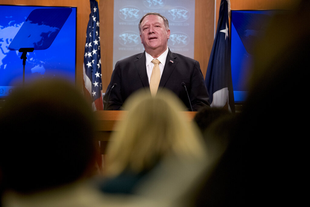 US secretary of state Mike Pompeo speaks at a news conference at the state department in Washington, Monday, November 18, 2019