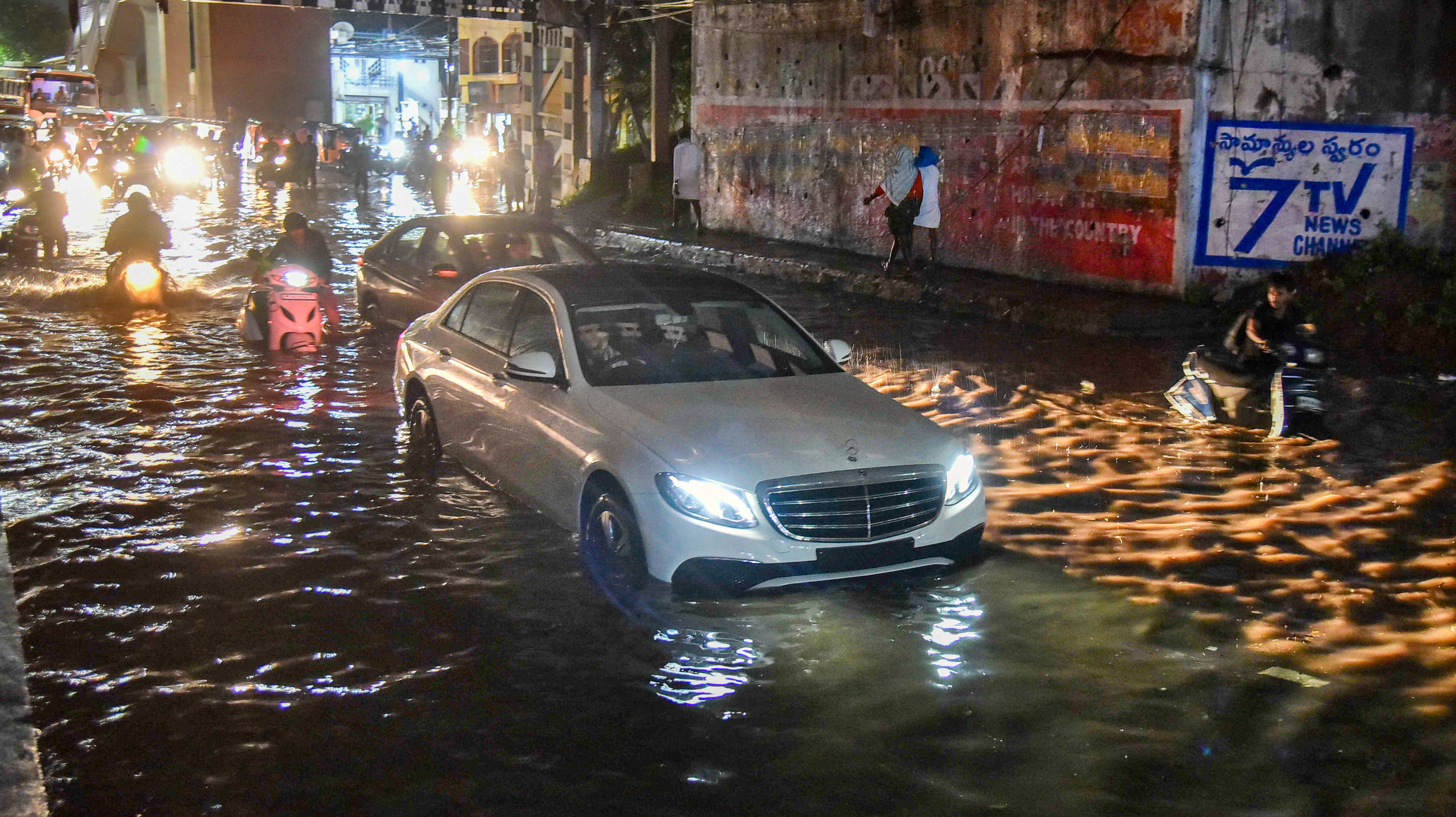 A waterlogged road in Hyderabad on Tuesday