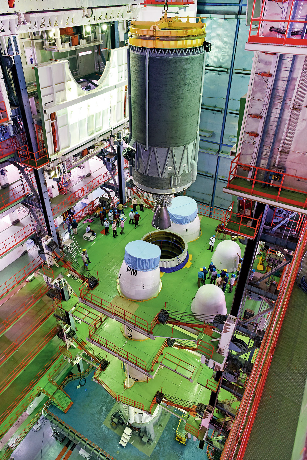 The cryogenic engine being integrated into the GSLV rocket