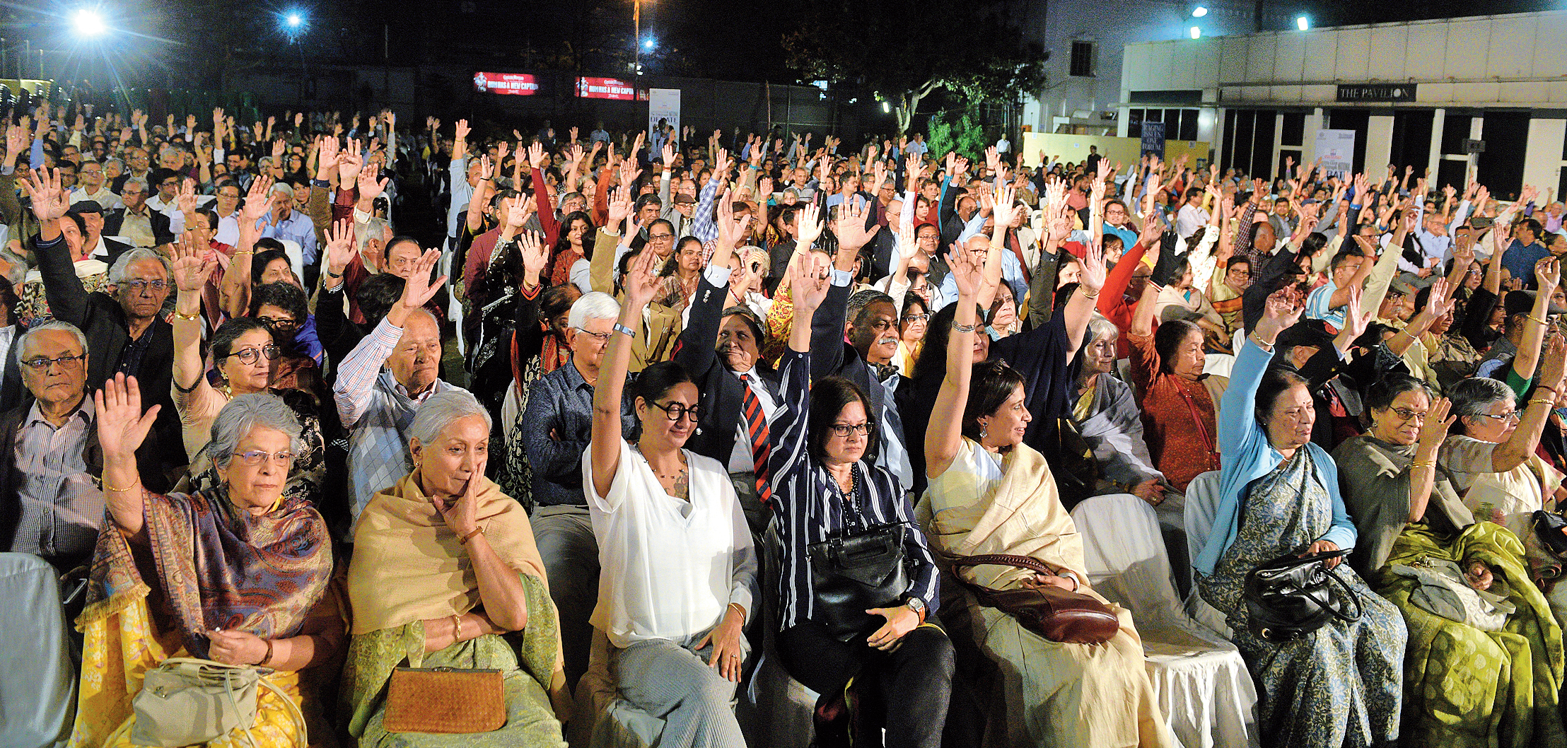 For: The audience at Calcutta Club gave a decisive verdict in favour of the motion on Sunday. Put to vote by moderator Sandip Chatterjee, the hands raised (below) for the proposition clearly outnumbered those raised for the opposition.