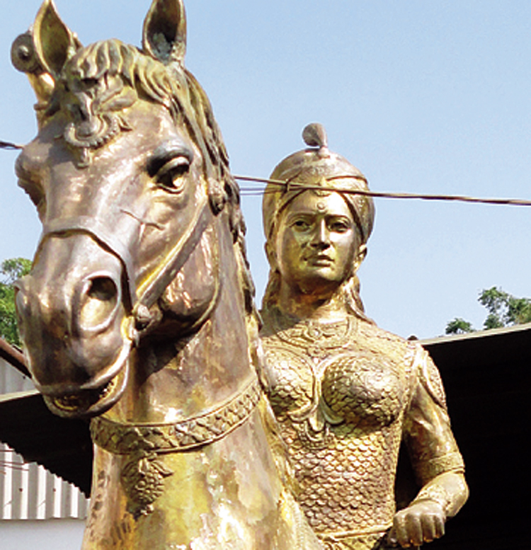 According to the 'Oxford Encyclopedia of Women in World History', Rudramadevi was often represented in public as a male figure in order to make female rule palatable