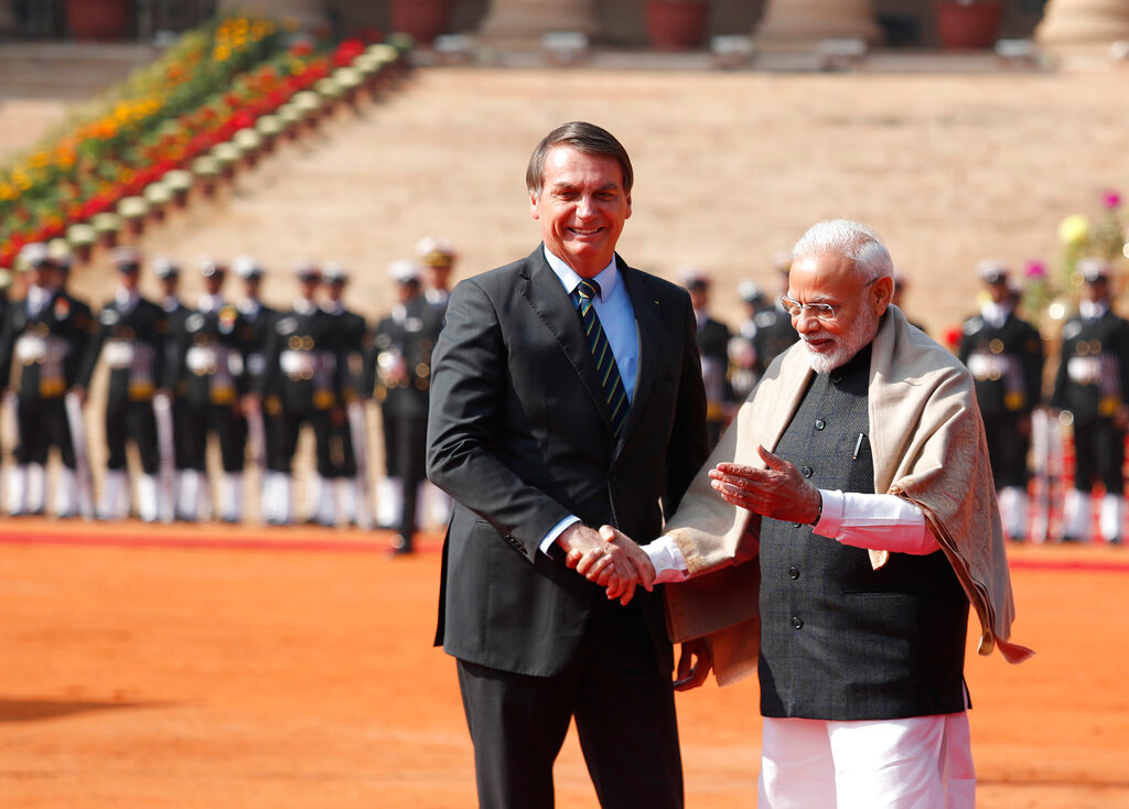 Jair Bolsonaro with Prime Minister Narendra Modi in New Delhi on January 25