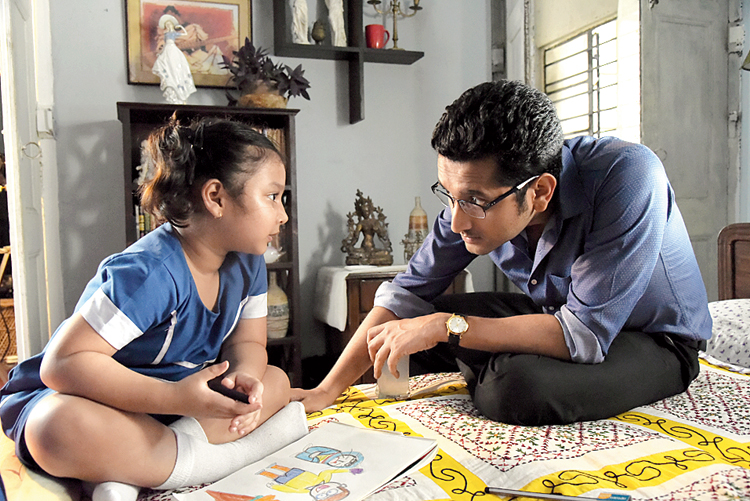 Rose with Parambrata Chatterjee in a scene from 'Sraboner Dhara'