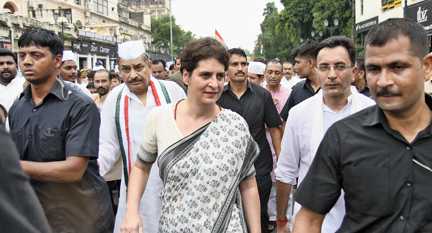 Priyanka Gandhi Vadra takes part in the Gandhi Sandesh Yatra in Lucknow on Mahatma Gandhi's birth anniversary on Wednesday.