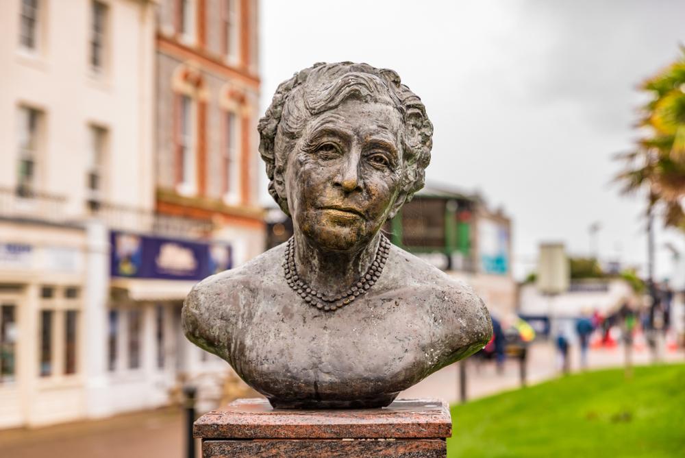 A bust of Agatha Christie in Torquay Town, United Kingdom