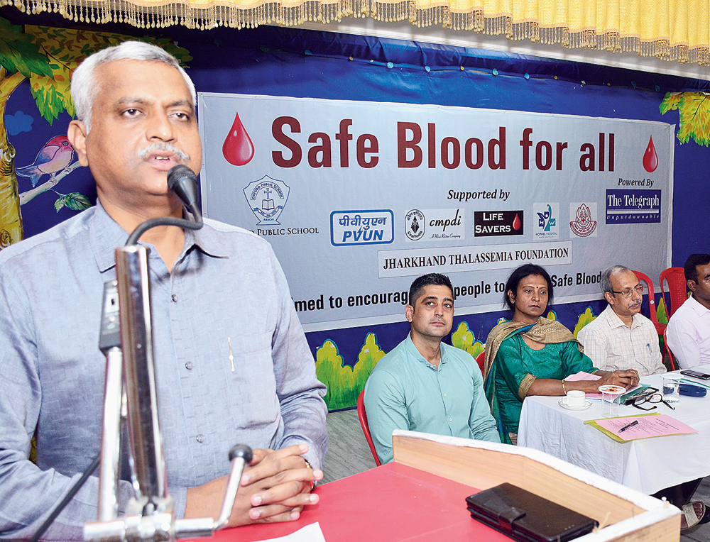 CRPF inspector-general Sanjay A. Lathkar addresses The Telegraph Safe Blood For All event at Oxford Public School Bhau Bazar in Ranchi on Tuesday