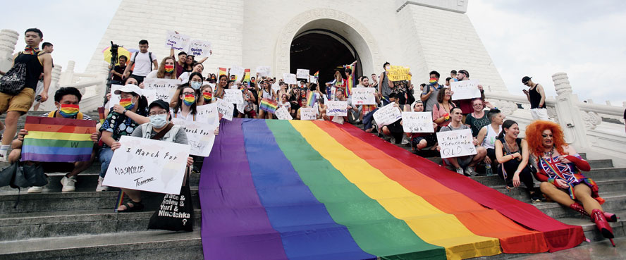 """Participants at the """"Taiwan Pride March for the World!"""" at Liberty Square on Sunday."""