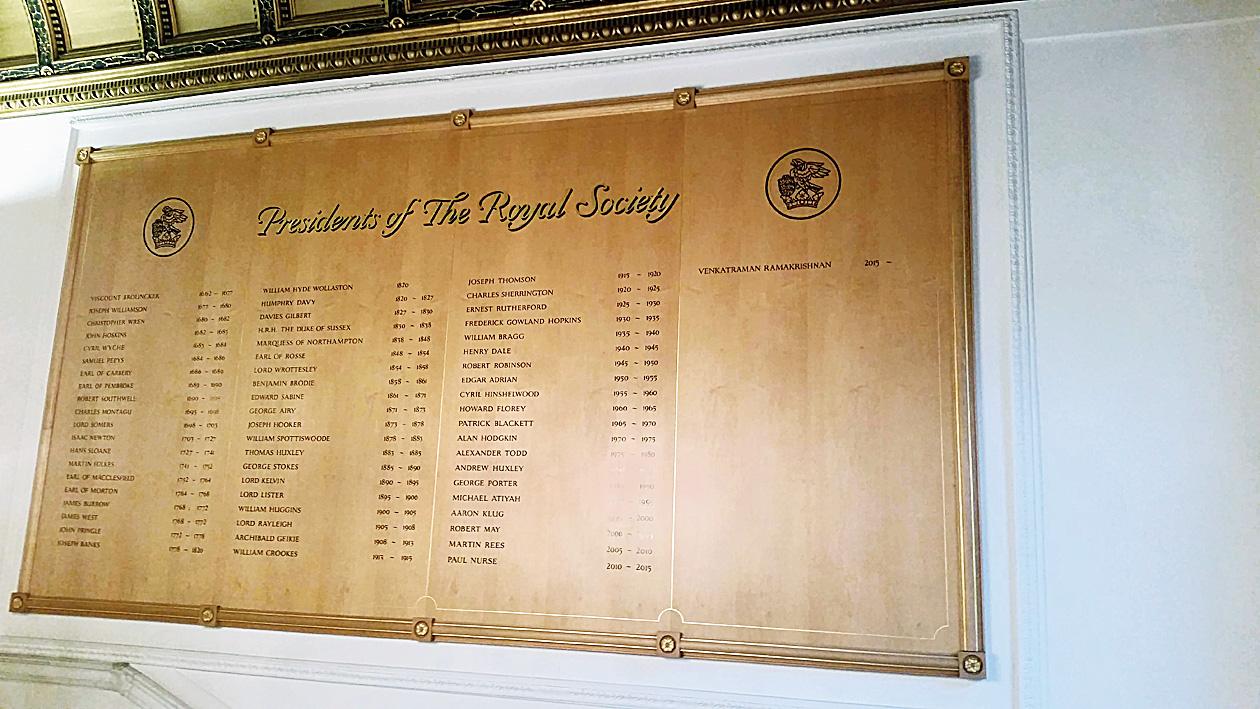 The board that mentions Venkatraman Ramakrishnan's name (extreme right) among the Royal Society presidents.