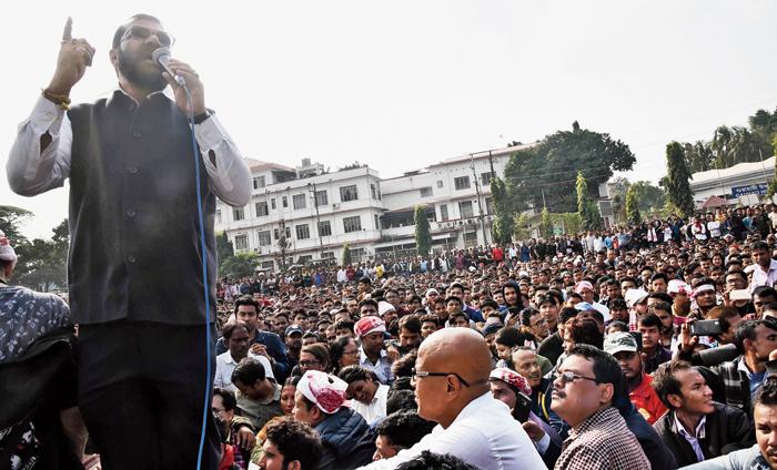 AASU adviser Samujjal Bhattacharjya speaks at the rally