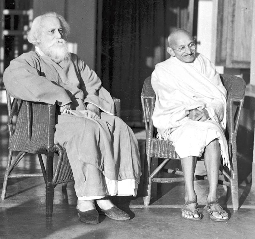 Rabindranath Tagore and Mohandas Karamchand Gandhi at Santiniketan.