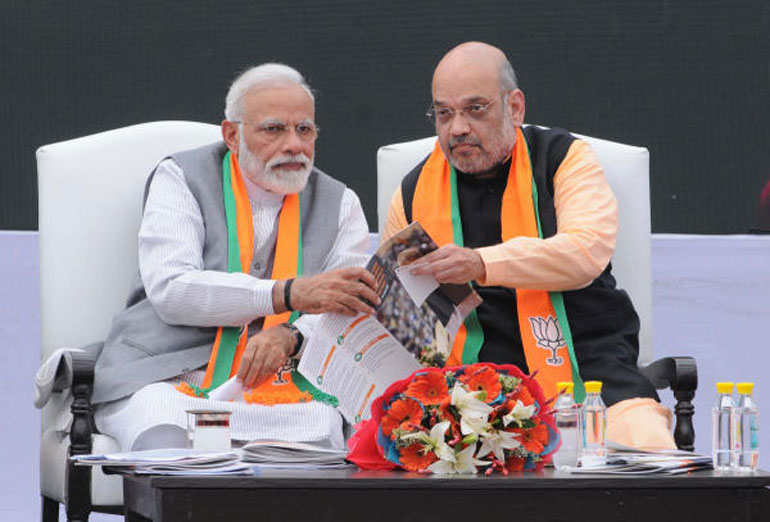 Narendra Modi and Amit Shah at the launch of the BJP's manifesto for Lok Sabha elections 2019.