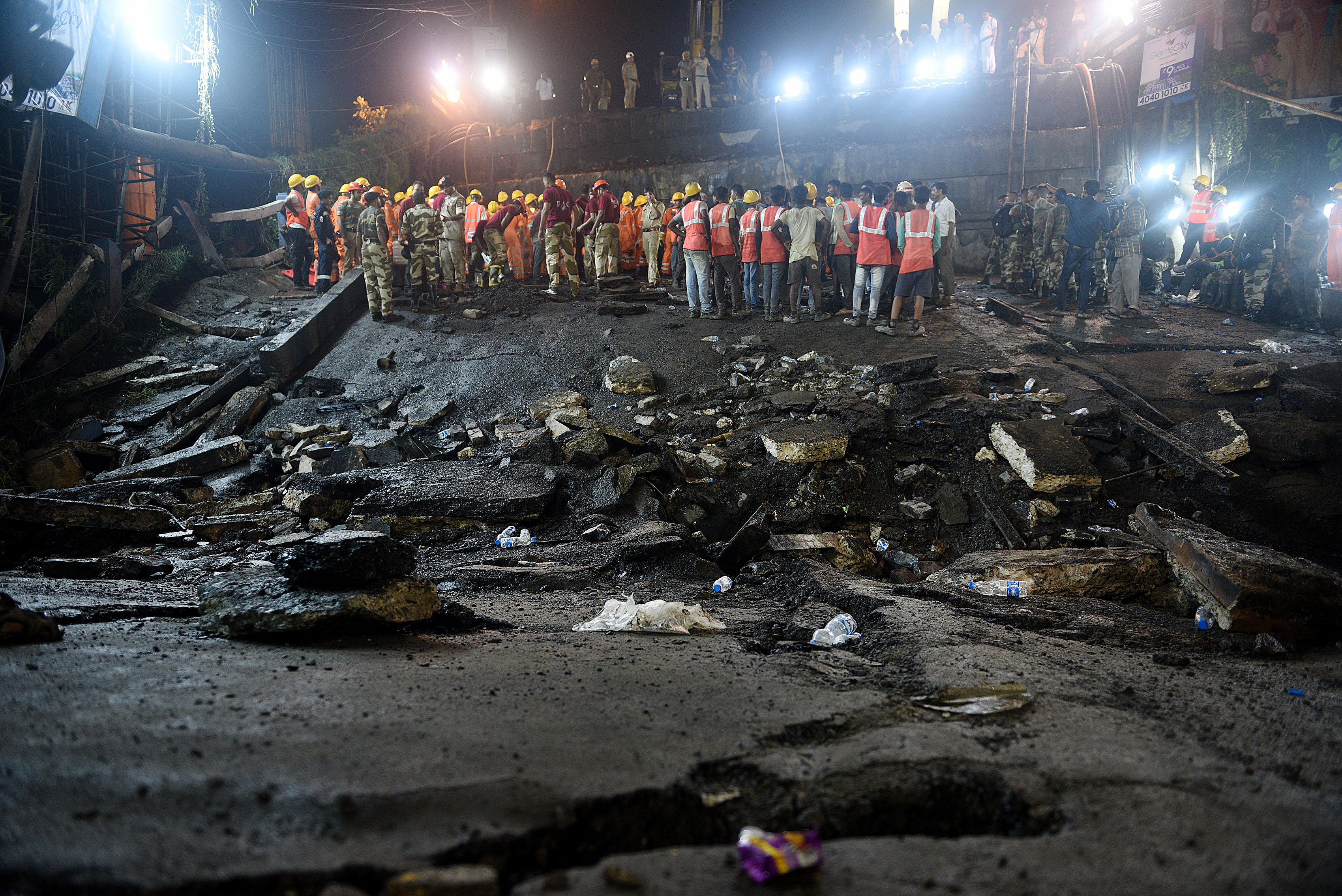 Rescue operation after the Majerhat bridge collapse in Calcutta earlier this month