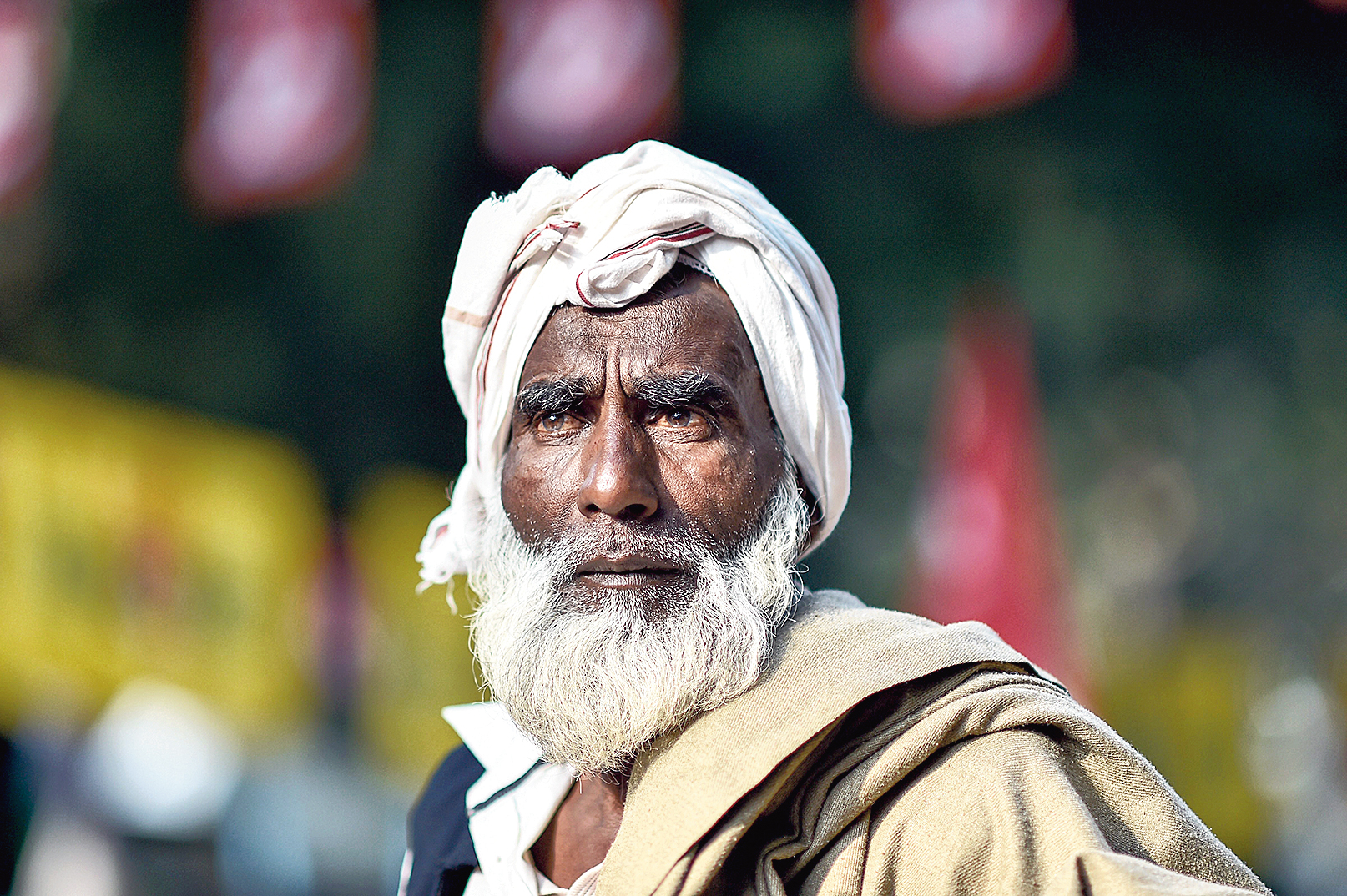 A farmer at the march in New Delhi on Friday.