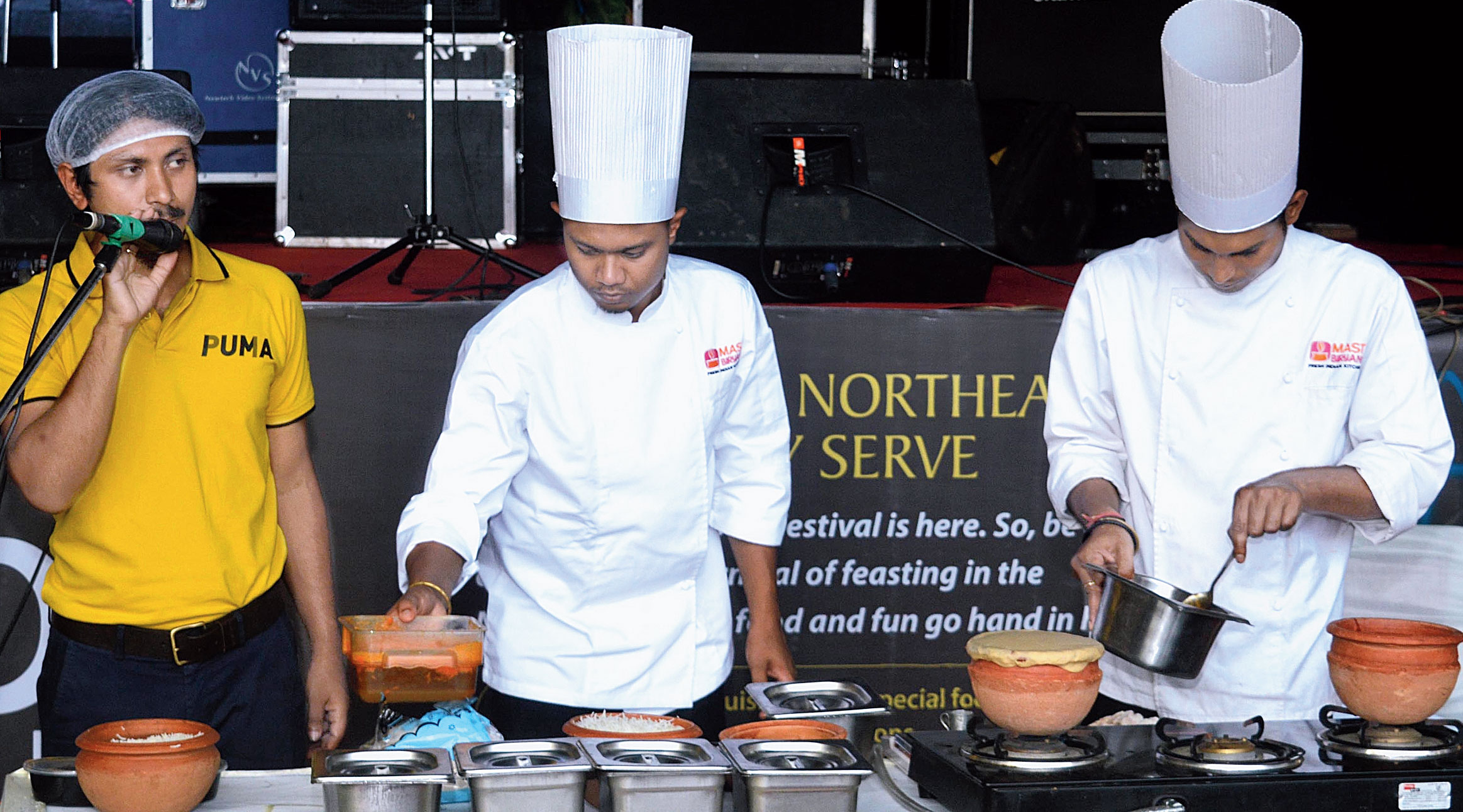 (From left) Pranjal Chetia, founder of Mast Biryani, along with chefs Ridip Das and Chinmoy Saikia at The Telegraph Food Festival in Guwahati on Sunday.