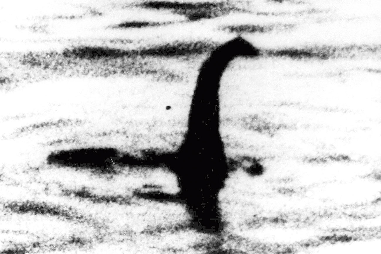 A file picture shows a shadowy shape that some people say is the Loch Ness monster in Scotland.