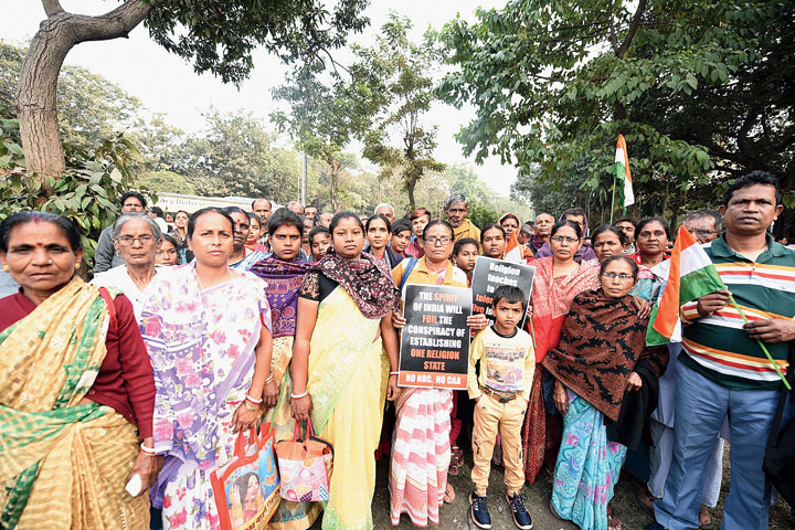 """A group of over 50 people came as representatives of a church at Phulbari in the Sunderbans, around an hour's drive from Canning and over 70km from Calcutta. Residents of Christianpara, the neighbourhood they live in, had spent most of December doing the rounds of block land and land reforms offices, other government offices and police stations with birth certificates and land ownership documents. Dipti Gayen, 60, who walked in Monday's rally, was one of them. """"Most government officials were also confused about which paper would be valid.  But our MLA held several programmes to assure us that we should not give in to the fears. Three generations of my family have died in this country. I am as much an Indian citizen as anyone else,"""" Gayen said."""