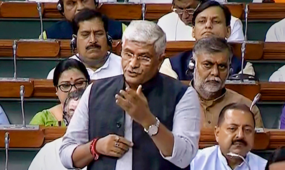 Union Minister Jal Shakti Gajendra Singh Shekhawat speaks in the Lok Sabha during the Budget Session of Parliament in New Delhi on Monday, July 29, 2019.