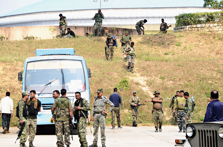 Chhattisgarh Armed Force jawans outside the mega sports complex in Ranchi on Monday.