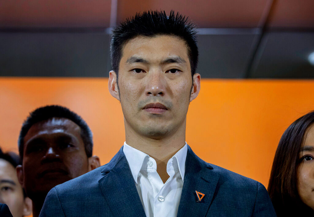 Future Forward Party leader Thanathorn Juangroongruangkit attends a press conference after a Thai court ordered to dissolved his party in Bangkok on Friday