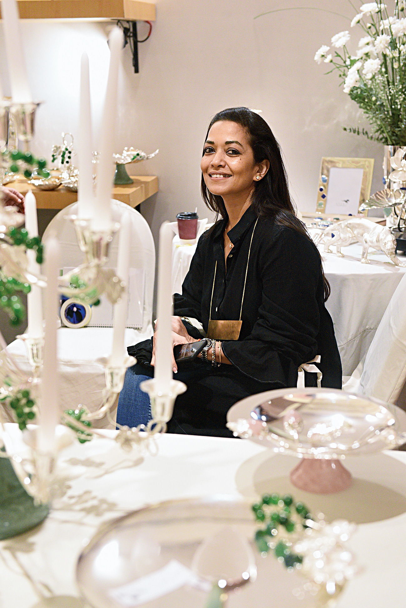 """""""The setting is absolutely fabulous! Obviously the clothes are the focus with their colour and shine, so I love the way the muted tones of the decor have been done. Very good choice of designers and lovely variety in the clothes,"""" said Burnt Garlic co-owner Esha Dutta."""